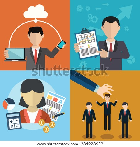 Vector collection of flat and colorful business, Human Resources concept. Design elements for web and mobile applications - stock vector