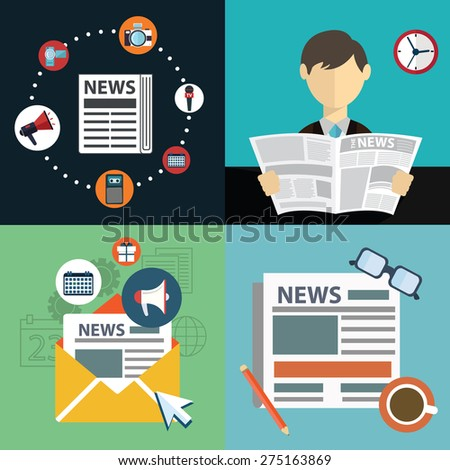 Vector collection of flat and colorful news, marketing and news feed. Design elements for web and mobile applications - stock vector