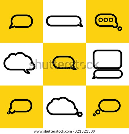 Vector collection of flat text balloons. Speach, conversation box, dot simple flat icon. Interface design elements. - stock vector