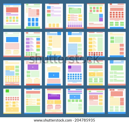 Vector collection of flat website templates. - stock vector