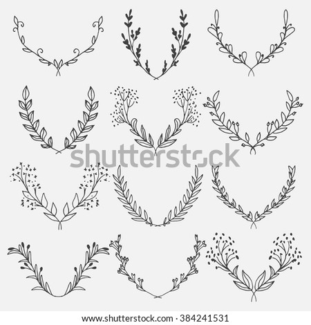 Vector Collection of 12 Floral laurels on white background. Sketch frames, hand-drawn with ink. Vector illustration. - stock vector