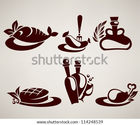 vector collection of food silhouettes - stock vector
