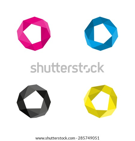 Vector collection of four circles with a modern polygonal patterns on white background pink blue black and yellow as the CMYK color model - stock vector