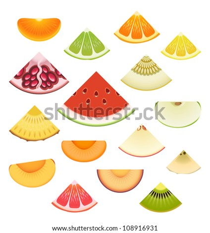 Vector collection of fresh fruit wedges - stock vector