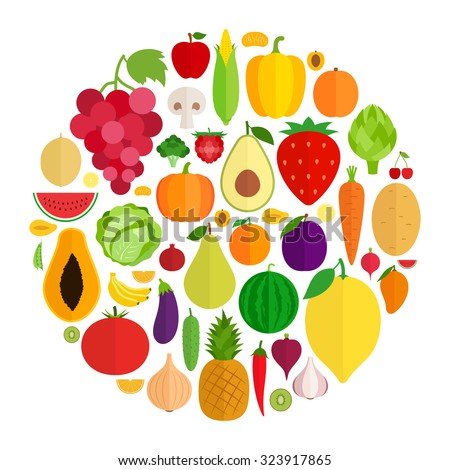 Vector collection of fresh vegetables and fruits flat icons. Green organic, veggies symbols for groceries, agriculture stores, packaging, menu  and advertising