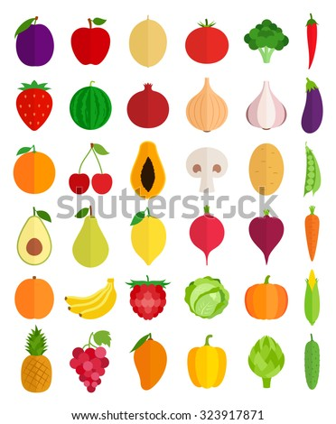 Vector collection of fresh vegetables and fruits flat icons. Green organic, veggies symbols for groceries, agriculture stores, packaging, menu  and advertising - stock vector