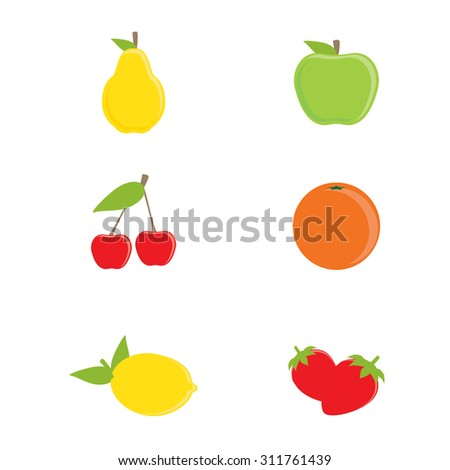 Vector collection of fruit icons. Yellow pear, green apple, orange, lemon, cherry and strawberry - stock vector