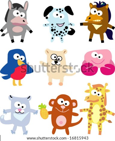 vector collection of funny animals 13