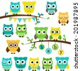 Vector Collection of Gender Neutral Baby Shower Themed Owls and Branches - stock vector