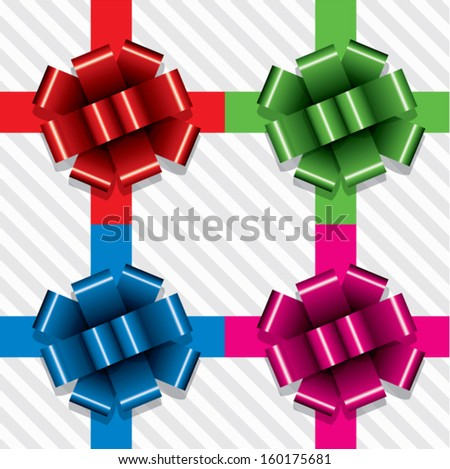 vector collection of gift ribbons with bows  - stock vector