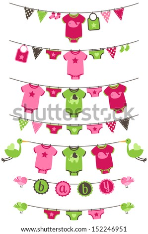 Vector Collection Of Girl Themed Baby Shower Bunting