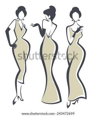 vector collection of girls in retro style - stock vector
