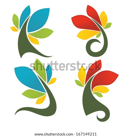 vector collection of glossy bright trees and leaf signs and symbols - stock vector