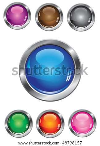 Vector collection of glossy buttons in various colors - stock vector