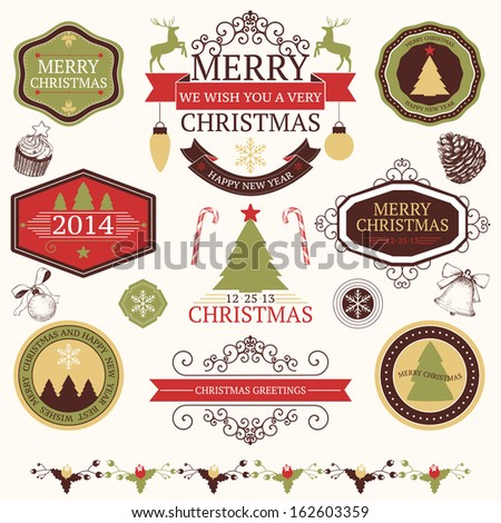 Vector collection of graphic elements for Christmas and New year's design in retro colors.  - stock vector