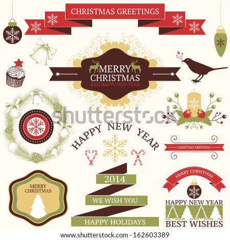 Vector collection of graphic elements for Christmas and New year's greeting card or invitation design - stock vector
