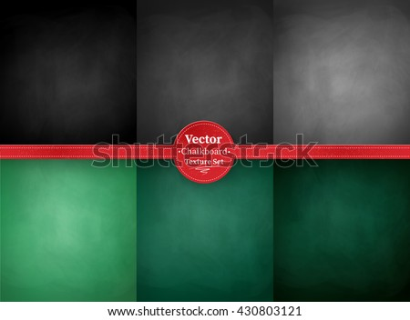Vector collection of green, gray and black school chalkboard backgrounds. - stock vector