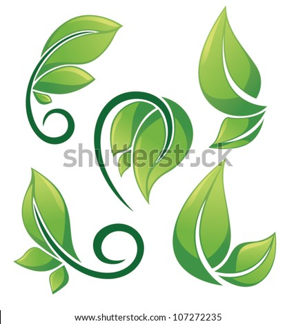 vector collection of green, health and fresh leaves images, signs and symbols - stock vector