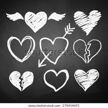 Vector collection of grunge chalked hearts. - stock vector