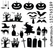 vector collection of halloween silhouettes - stock
