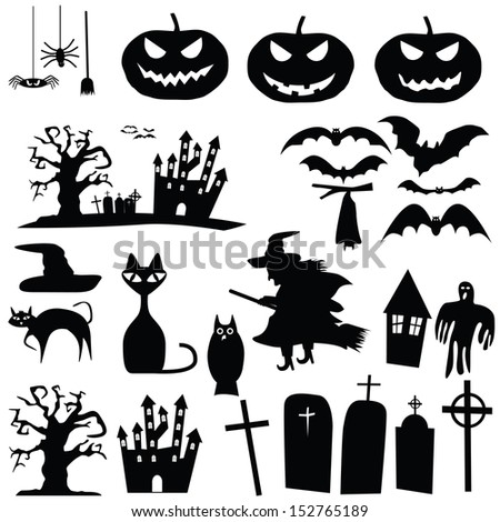 vector collection of halloween silhouettes - stock vector