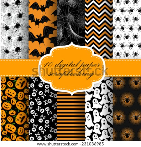 Vector Collection of Halloween Themed Pattern Backgrounds. Halloween Digital Paper For Scrapbook. - stock vector