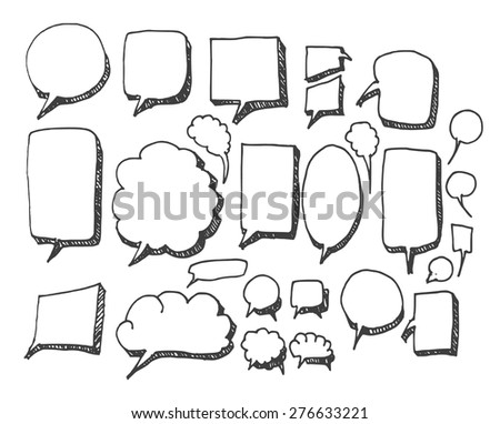 Vector Collection of Hand Drawn Doodle Style Speech Bubble