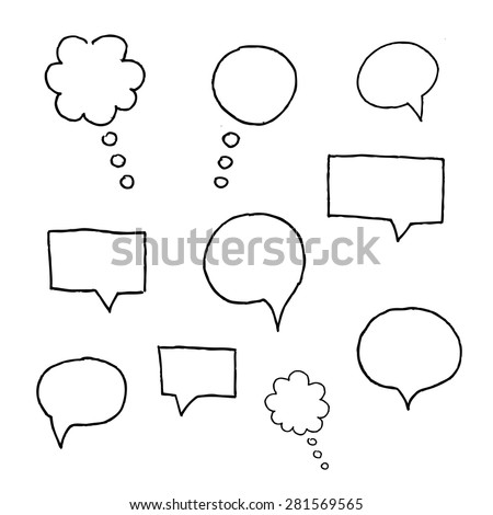 Vector Collection of Hand Drawn Doodle Style Speech Bubbles. - stock vector