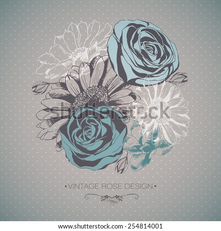 Vector Collection of Hand Drawn Flowers - stock vector