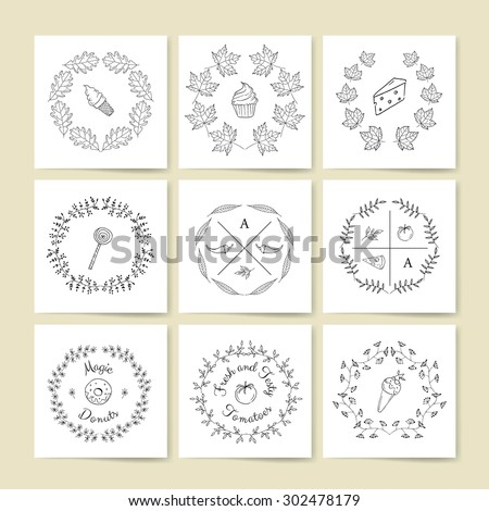 Vector collection of  hand drawn logo templates. Set of vintage retro restaurant badges and labels. Vintage badges. Hand sketched modern labels. Food labels. - stock vector