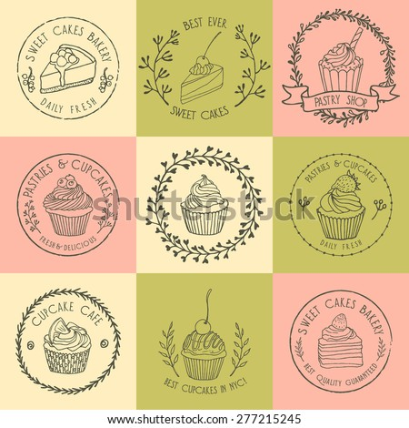 Vector collection of hand drawn pastry badges. Beautiful vector graphics for pastry shops, cafes or any business related to the catering. Icons, badges and labels design. Hand drawn elements. - stock vector