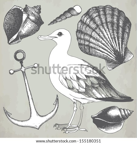 Vector collection of hand drawn sea illustrations on aged background. Vintage illustrations  with engraving elements.  - stock vector