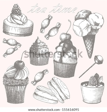 Vector collection of hand drawn sweet cupcakes and candies. Vintage illustrations - stock vector
