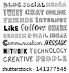 Vector collection of hand drawn words on the social media and communication theme written in different style and fonts. Isolated on white background - stock vector