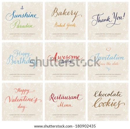 Vector collection of handwritten calligraphic lettering on grungy beige retro paper background - stock vector