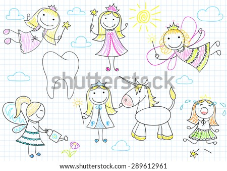 Vector collection of happy little fairies. Sketch on notebook page - stock vector