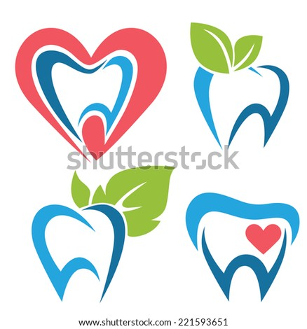 vector collection of healthy teeth, dental symbols and icons - stock vector