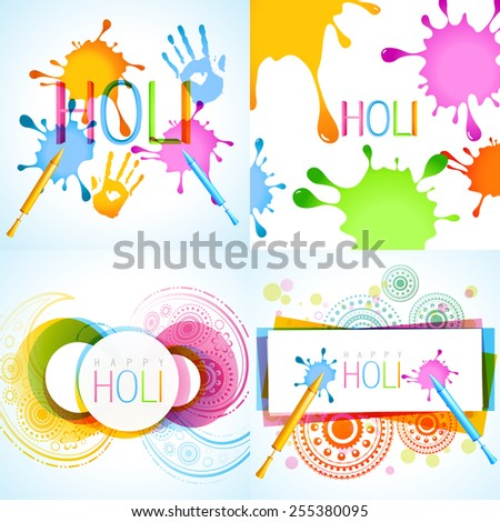 vector collection of holi background with different colors - stock vector
