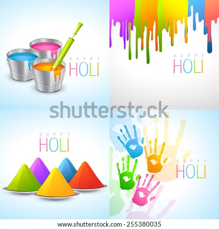 vector collection of holi designs with pichkari, bucket, colorful hand and gulal - stock vector
