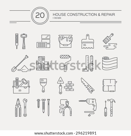 Vector collection of house repair icons, including saw, hammer, screwdriver, drill and other tools.Modern line style labels of house remodel gear and elmenets. Building, conctruction graphic elements. - stock vector