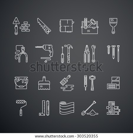 Vector collection of house repair icons, including saw, hammer, screwdriver, drill and other tools. Modern line style labels of house remodel gear. Building, conctruction graphic design elements. - stock vector