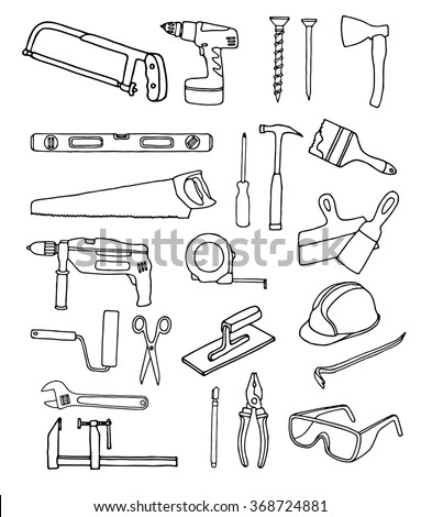 Vector collection of house repair icons. Repair tools. House remodel. House Remodel doodle icons - stock vector