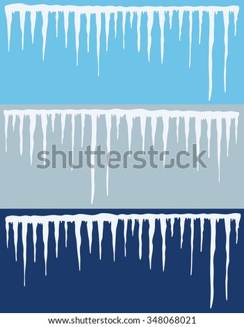 vector collection of icicles backgrounds - stock vector