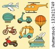 Vector collection of  icon with transport. - stock vector