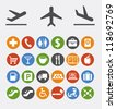 Vector collection of icons and pointers for navigation in airport - stock vector
