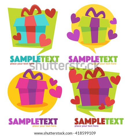 vector collection of icons, signs and symbols look like a speech bubble with present box - stock vector