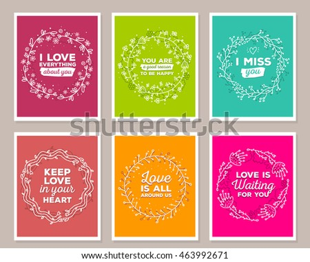 Vector collection of illustration of wonderful template with floral frames, flowers, inscriptions on color background. Hand drawn flat doodle art design of flower poster, card, wedding invitation