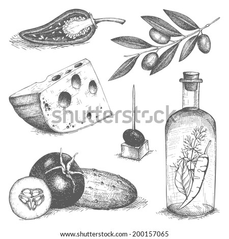 Vector collection of  ink hand drawn food - olive oil, cheese, vegetables. Vintage healthy food illustration. Decorative  engraved  food isolated on white. - stock vector