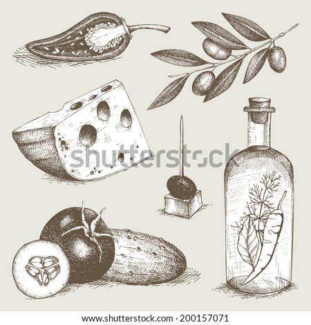 Vector collection of  ink hand drawn food - olive oil, cheese, vegetables. Vintage healthy food illustration. Decorative  engraved food. - stock vector