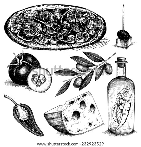 Vector collection of ink hand drawn pizza ingredients illustration. Vintage italian  food illustration. Decorative engraved food isolated on white. - stock vector